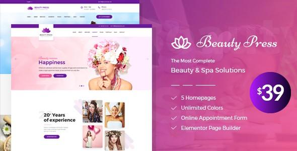 BeautyPress - Beauty Salon Spa WordPress Theme