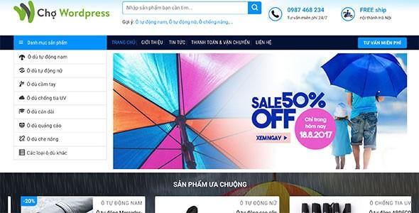 Mẫu web bán áo mưa