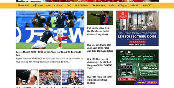 Mẫu web tin tức bóng đá