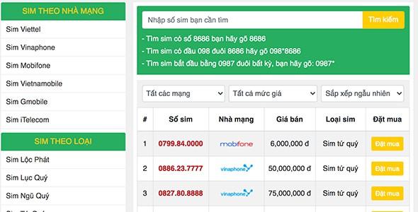 Mẫu web bán sim số sim điện thoại