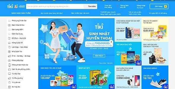 Mẫu web thương mại điện tử như Tiki